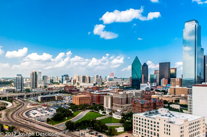 Dallas, Texas skyline showing Dealey Plaza, the site of John F. Kennedy's assasination.