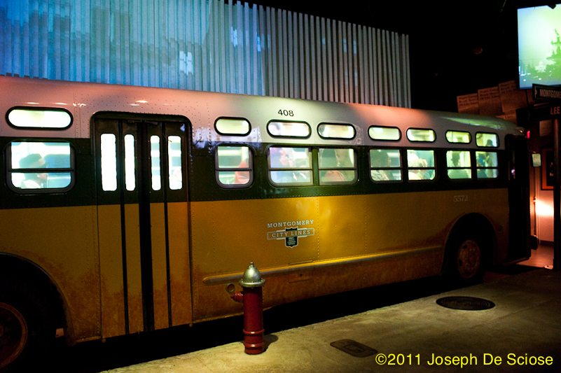 Replica display of a city bus at the Rosa Parks Museum and Library, Montgomery, AL,