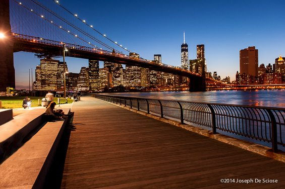 Brooklyn Bridge , the financial district and the World Trade Center