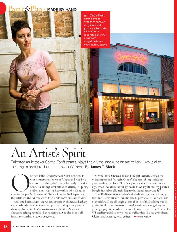 Artist Carol Foret, Athens, Alabama Southern Living Magazine, October 2008
