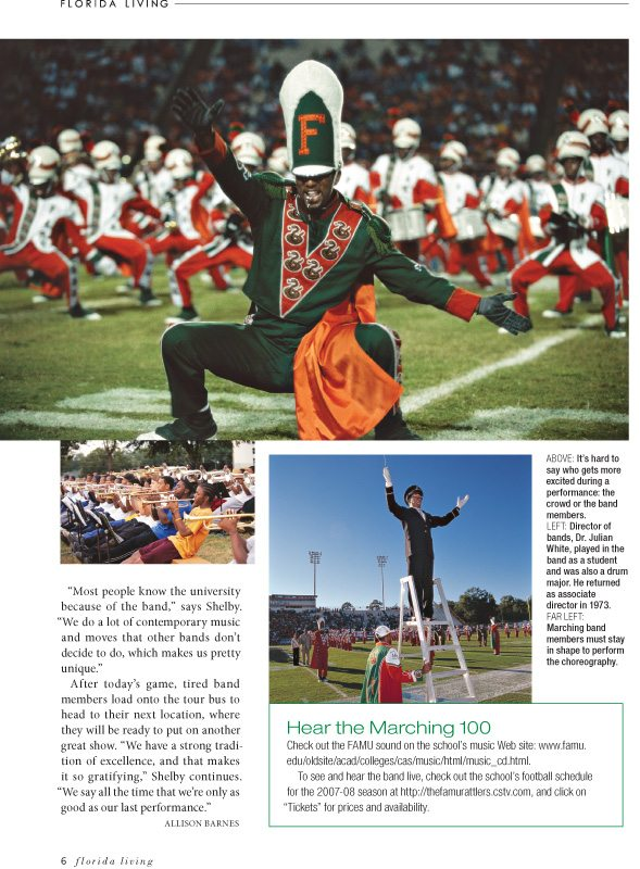 Florida A&M Marching Band Southern Living Magazine, September 2007