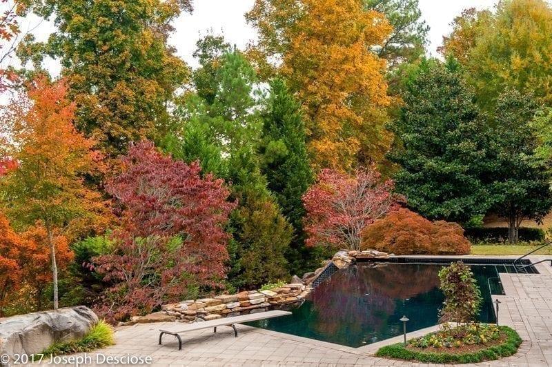 Swimming pool in Autumn