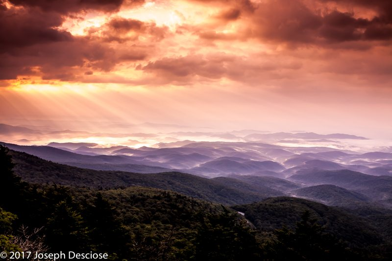Morning view from Grandfather Mountain, Blue Ridge Mountains, North Carolina