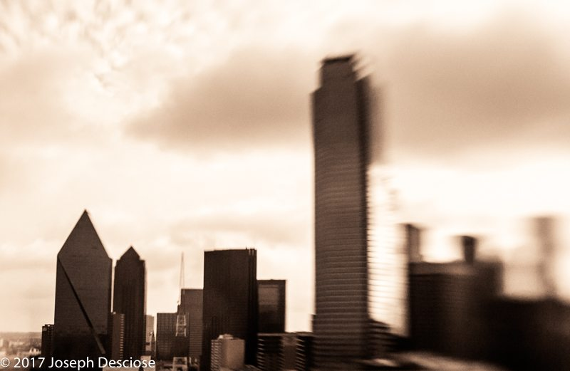 Skyline of Dallas, Texas, blurry and moody.