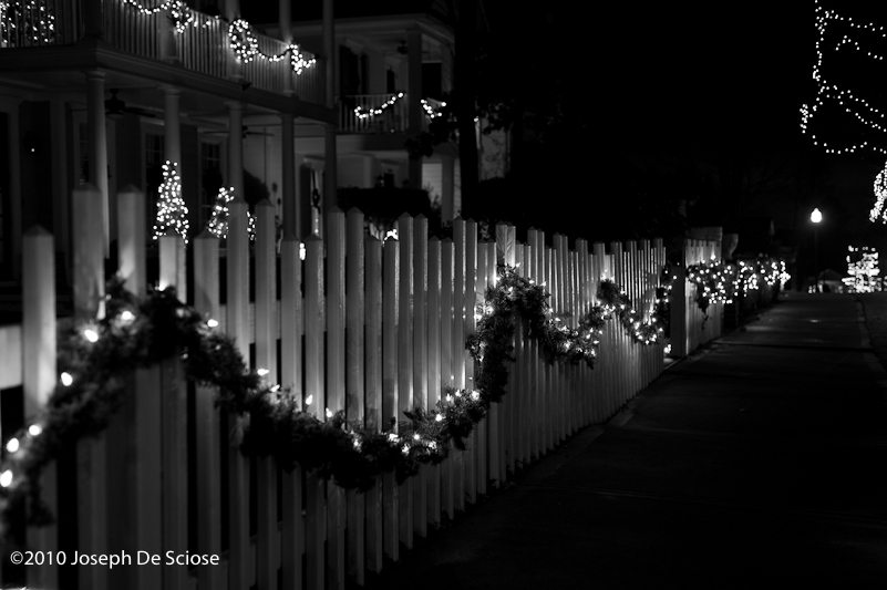 Garland on picket fence