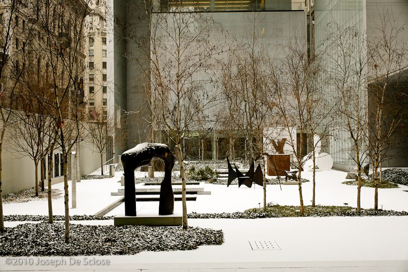 Museum of Modern Art (MOMA) NYC, sculptor garden in the snow