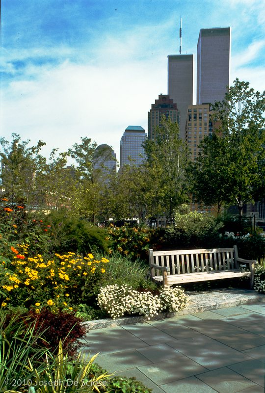 Photo, Twin Towers from Wagner Park, New York City, historical