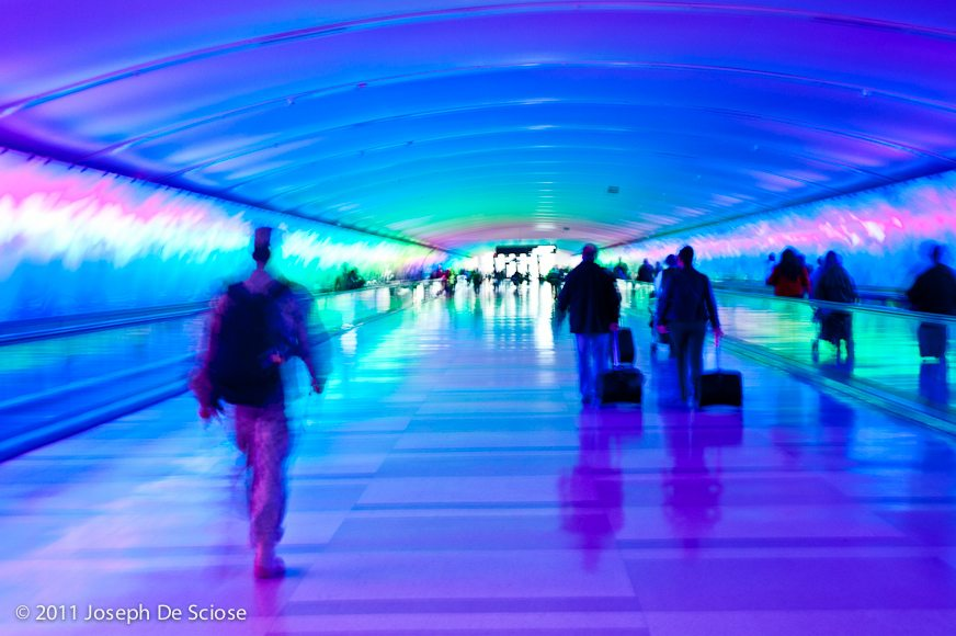Detroit Airport, terminal transfer tunnel, photograph Joseph De Sciose