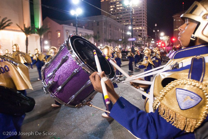 St. Augustine High School Band during a Mardi Gras parade on Canal Street in New Orleans.