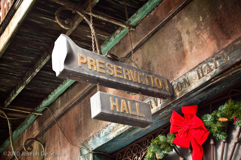 Signage for the Preservation Hall jazz venue in the French Quarter in New Orleans.