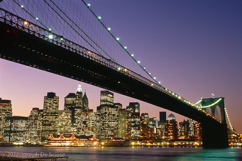 Historic Image, Brooklyn Bridge at dusk 2001, New York City