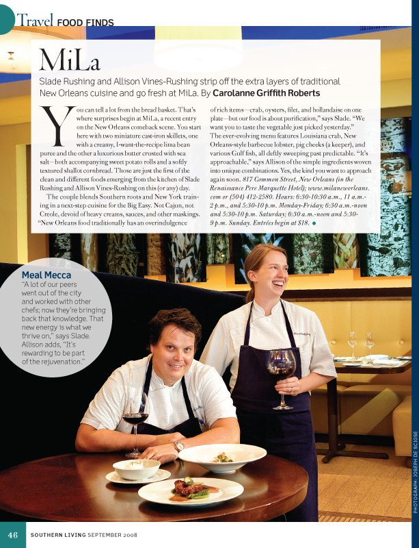Mila, New Orleans restaurant, Southern Living Magazine, September 2008
