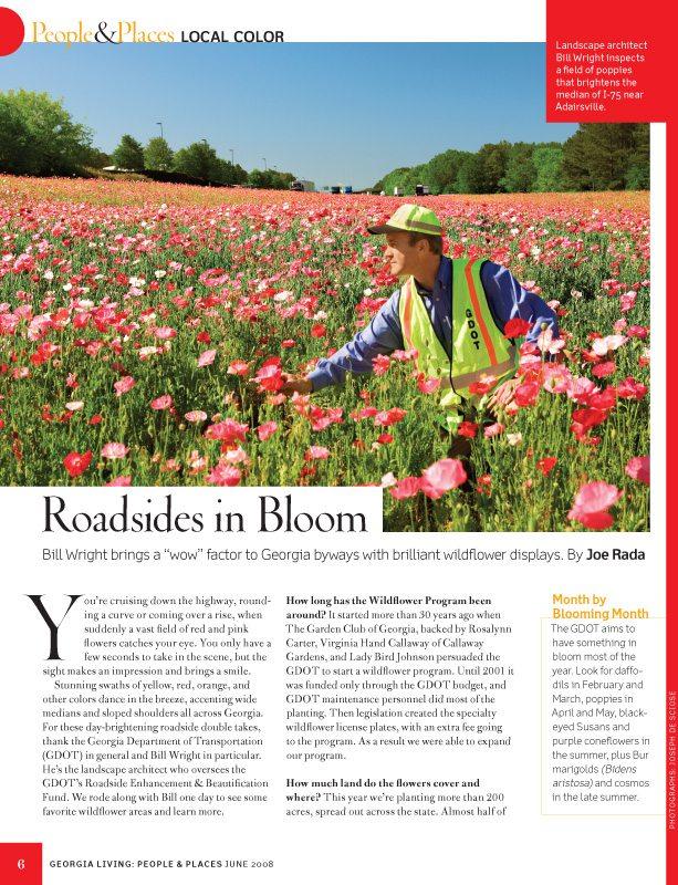 Southern Living Magazine, June 2008, Georgia roadside wildflowers