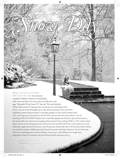 Birmingham Home & Garden Magazine, Snow Day article January 2011