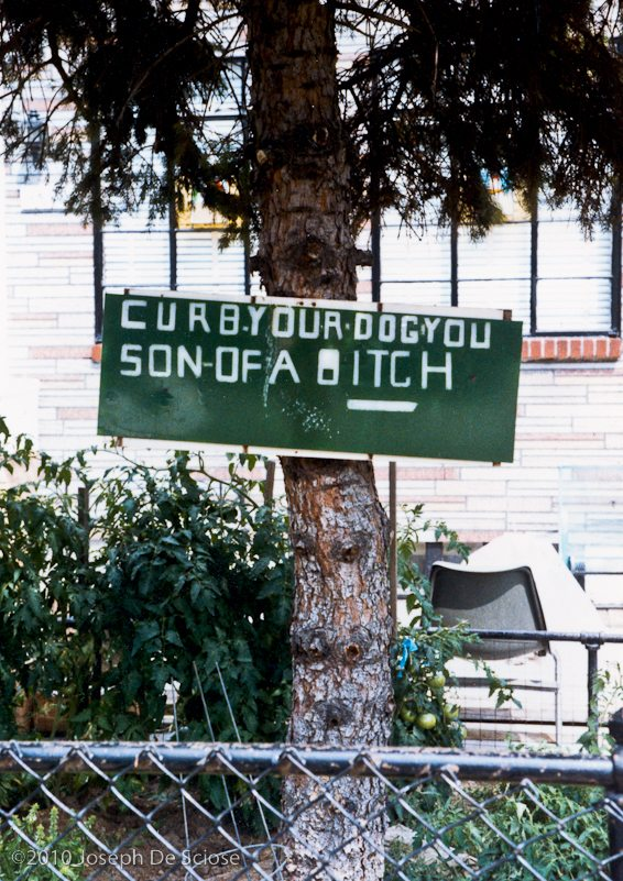Yard sign, Bensonhurst, Brooklyn, New York, 1983