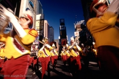 A Band Marches Through Times Square at the Macy's Thanksgiving Day Parade