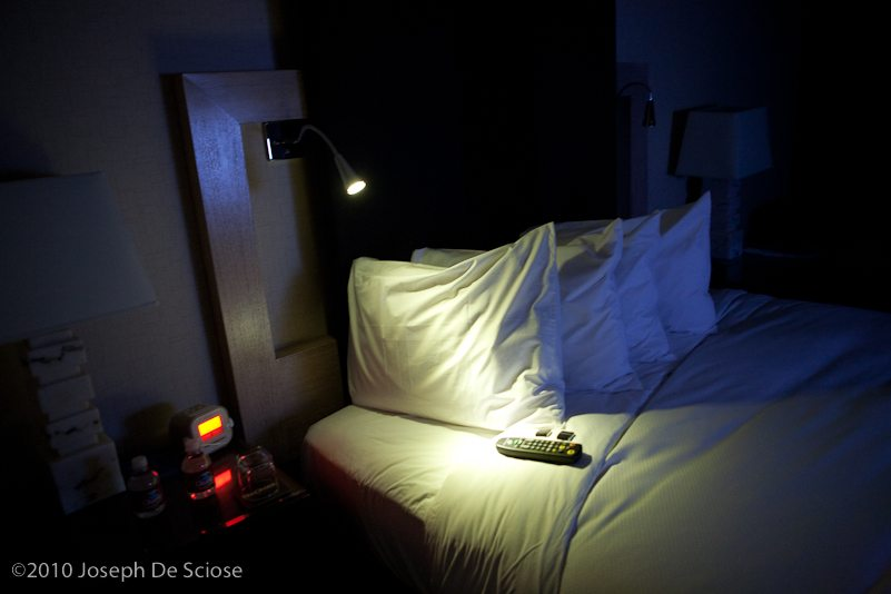 Bed in a hotel room.